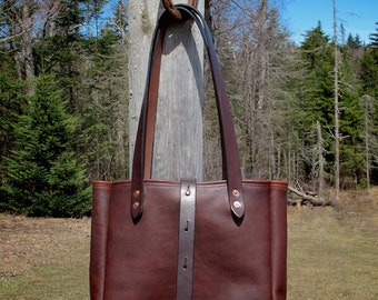 Cowhide and English Bridle Leather Tote