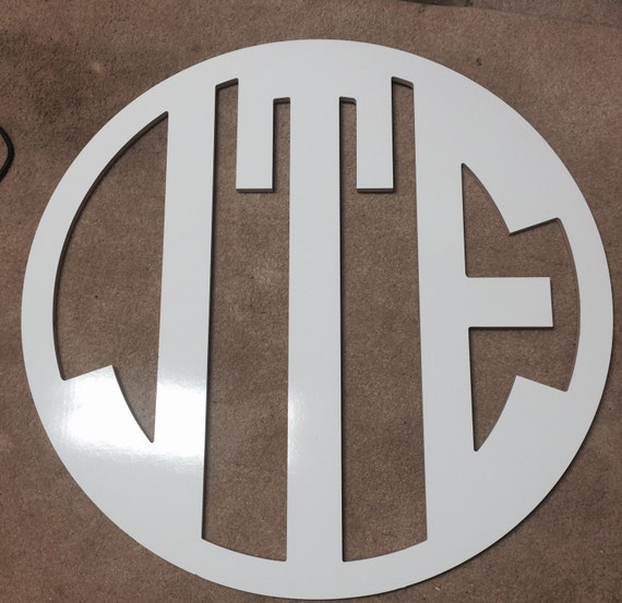 30 inch wooden circle 3 letter monogram by blizzardcreations for 3 inch wooden letters