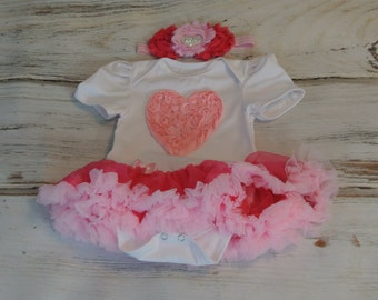 Girls tutu - Baby Tutu dress- baby tutu onesie- pink tutu - pink pettiskirt -First Birthday dress-Wedding, Pettiskirt,  Onesie Tutu