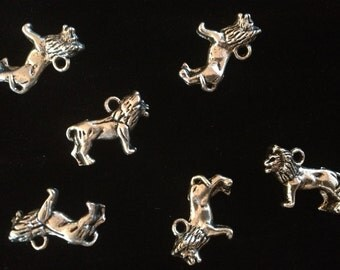 Six Metal Lion Charms