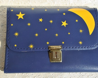 rare vintage 1960s yellow moon and stars blue pencil case made in Hellas