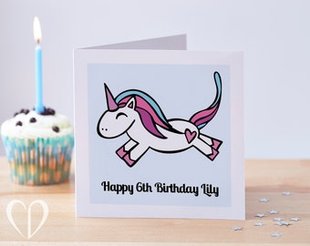 Custom Unicorn Birthday Card, Unicorn Card, Kids Birthday Card, Girls Birthday Card, Unicorn Birthday Card, Personalised Unicorn Card