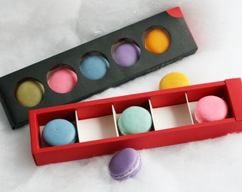 Macaron Soap Gift Box- Beautiful Cold Process Macaron Soap in Black and Red Gift Box