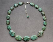 African Turquoise, Sterling Silver Necklace 20 to 23 inch Adjustable with Sterling Silver Chain and Lobster Claw Clasp