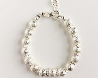 Silver Shimmer Bracelet w/flower spacers