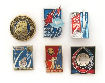 Space, Badge, Set, Cosmos, Rare Vintage collectible badge, Soviet Vintage Pin, Soviet Union, Made in USSR, 1970s, 1980s