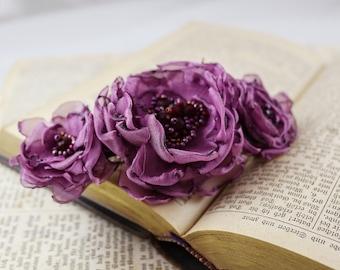 purple hair barrette hair clasp floral barrette wedding hair barrette hair accessories fabric hair barrette hair clip hair flower hair slide