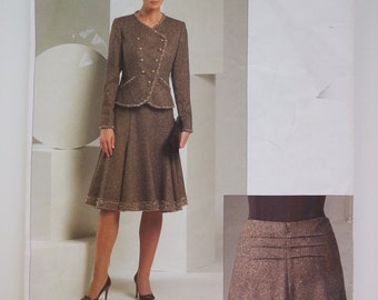 Womens suit / A line skirt/Oscar de la Renta /Designer/ mother bride outfit/ 2005 Sewing Pattern, Bust 34 36 38, Size 12 14 16, VogueV  2870
