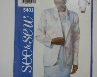 90s jacket/ sheath dress/Women/suit jacket / mother bride outfit 1998 sewing pattern, Bust 34 36 38, Size 12 14 16, Butterick See Sew 5401