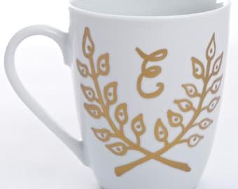 Laurel Wreath Mug - with gold leaf and optional monogram