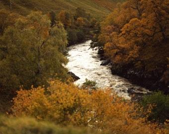 Glen Tilt 12, original fine art photography, print, landscape, river, scotland, blair atholl, autumn, hills, forest, woods, water, brown