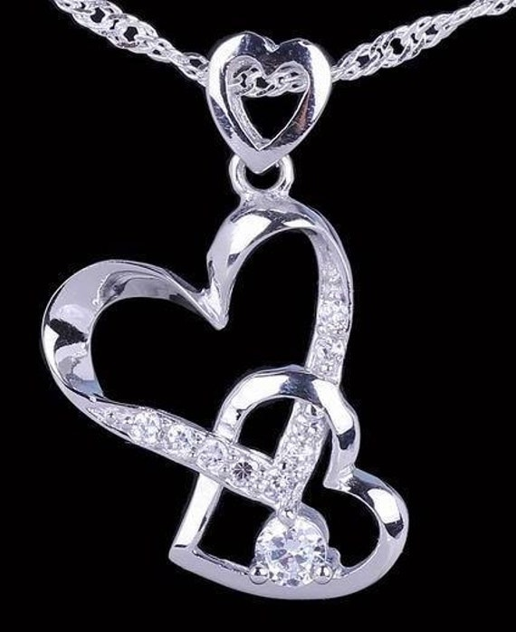Silver Intertwined Hearts Necklace Silver heart Necklace Two