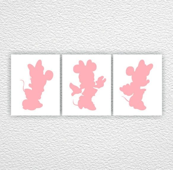 disney wall art minnie mouse silhouette pink silhouette