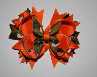 Camoflage Hair Bow with Bling!