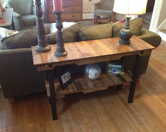 Reclaimed wood sofa/hallway table