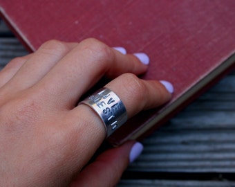 Live the questions - Rainer Maria Rilke - Poetry Jewelry - Aluminum Jewelry