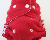 CLEARANCE! Small Front Snapping Fleece Diaper Cover in Red & White