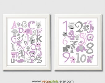 Purple and gray Alphabet and numbers art print - UNFRAMED - purple, grey, nursery wall art, kids room decor, 123, abc, safari animals