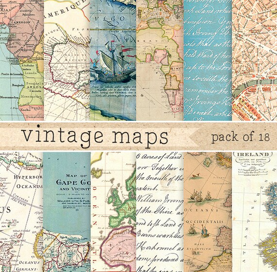 Antique Map: Vintage Maps Digital Paper: Retro Texture With Vintage And