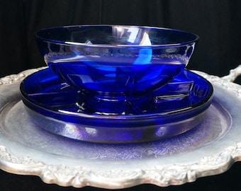 Vintage Cobalt Blue Two Piece Serving Platter Amazing
