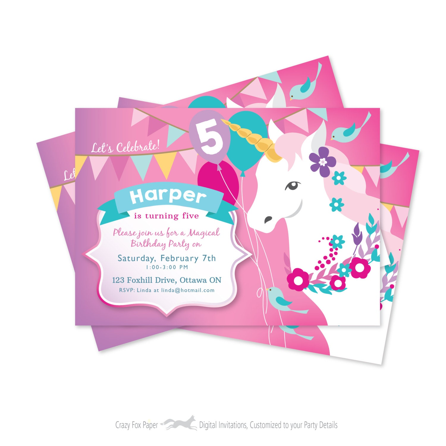 Whimsical Invitations with beautiful invitation example