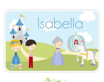 Cinderella Activity Placemat - Personalized Double-Sided Children's Placemat - Princess Cinderella Placemat - Educational Placemat