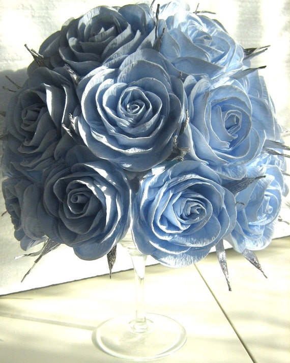 light blue silver crepe Paper flowers Royal Prince Party