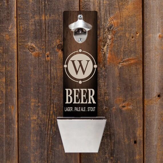 personalized wood mounted bottle opener bottle opener single. Black Bedroom Furniture Sets. Home Design Ideas