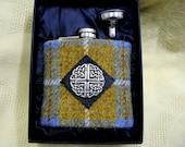 Harris Tweed hip flask blue mustard check  mens gift Scottish made in Scotland Celtic accessories wedding best man usher groomsman  birthday