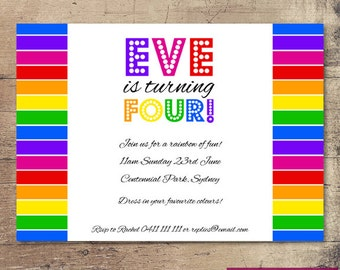 Printable Rainbow Birthday Invitation / Customisable Digital File / JPG or PDF /