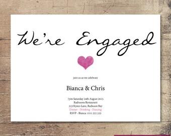 Printable Heart Engagement Invitation / Customisable Digital File / JPG or PDF /