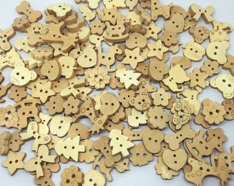 100pcs Mixed Shapes Cute Cartoon Wooden Buttons 2 holes Natural Sewing Scrapbooking Cardmaking 12MM-25MM/PC