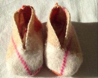 Felted Wool Baby Shoes with orange argyle