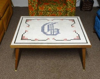 Mid Century, Vintage, Retro, 1950's, 1960's Mosaic Tile Inlay Coffee Table - FREE SHIPPING