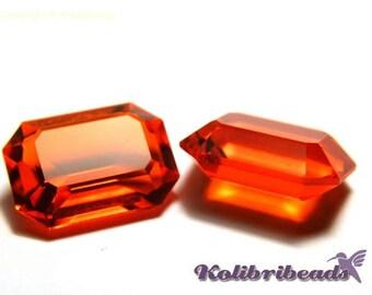 2x Swarovski 4610 Rectangle Fancy Stone 14 x 10 mm - Red Topaz - Genuine Austrian Crystal