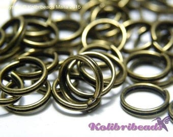 100x Split Rings 8 mm - Antique Gold