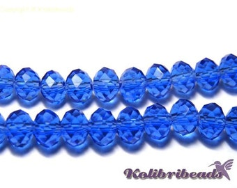 25x Faceted Glass Briolette Beads Rondelle Beads 6mm - Sapphire