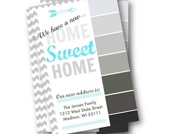 Moving Announcement paint swatch postcard -move - DIY editable we have moved postcard printable moving - We moved we've Moved address change