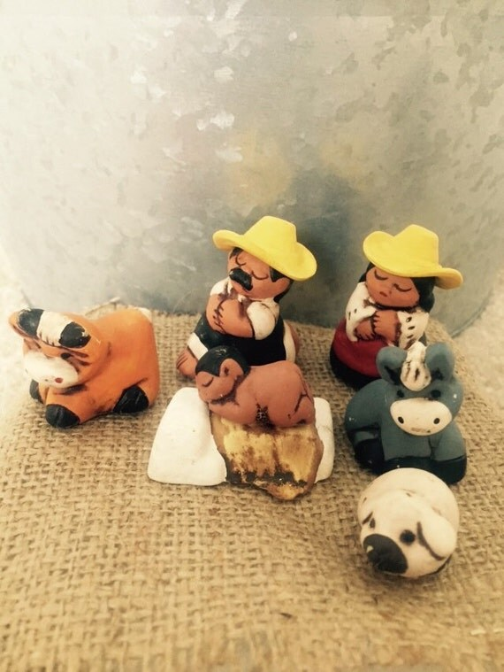 Peruvian Nativity Set. One set 9 pieces.