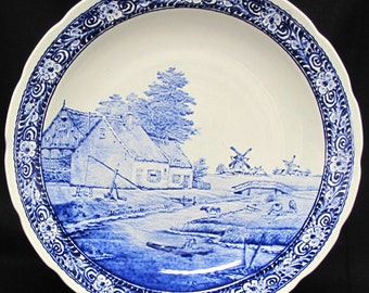 """Vintage Delfts Boch 15 1/2"""" Wall Plate/Charger- Dutch Homestead"""