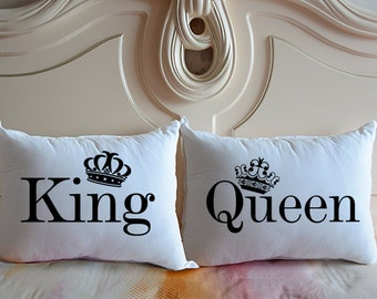 King & Queen pillow covers,Personalized bedding Pillowcase,Crown pillow cover,Matching pillows,Wedding Gift,King and Queen,Couples Gift27093