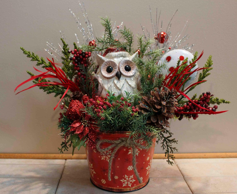 Christmas Woodsy Santa Owl Floral Arrangement Pams Dezines