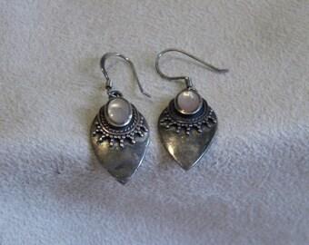 Sterling Silver Pink Mussel Shell Earrings
