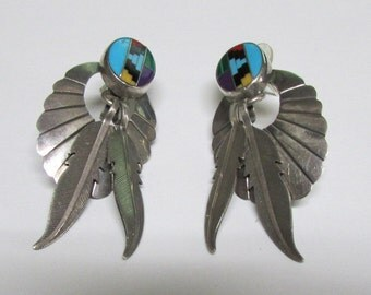 Sterling Silver Inlay Cab and Dangle Feather Post Earrings