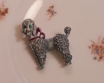 Vintage French Poodle Pin Brooch Enamel Jewelry Mid Century Kitsch