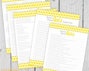 "Nursery Rhyme Quiz Yellow Dots and Gray Baby Shower Game - Printable 8 1/2"" x 11"""