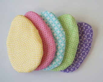 Fillable Fabric Easter Eggs - Set of 5 Reusable Eggs in Spring Colors