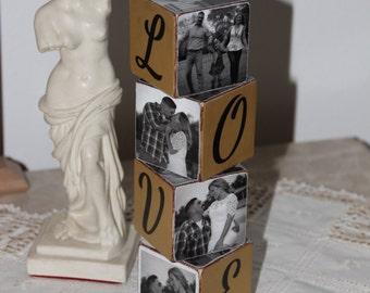 Engagement Wooden Blocks . Wooden Blocks for Anny Occsion .Hostess Gift Idea .