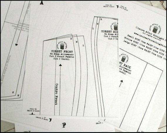 Eventide Corset PDF Sewing Pattern Victorian Edwardian Steampunk DIY Craft Kit
