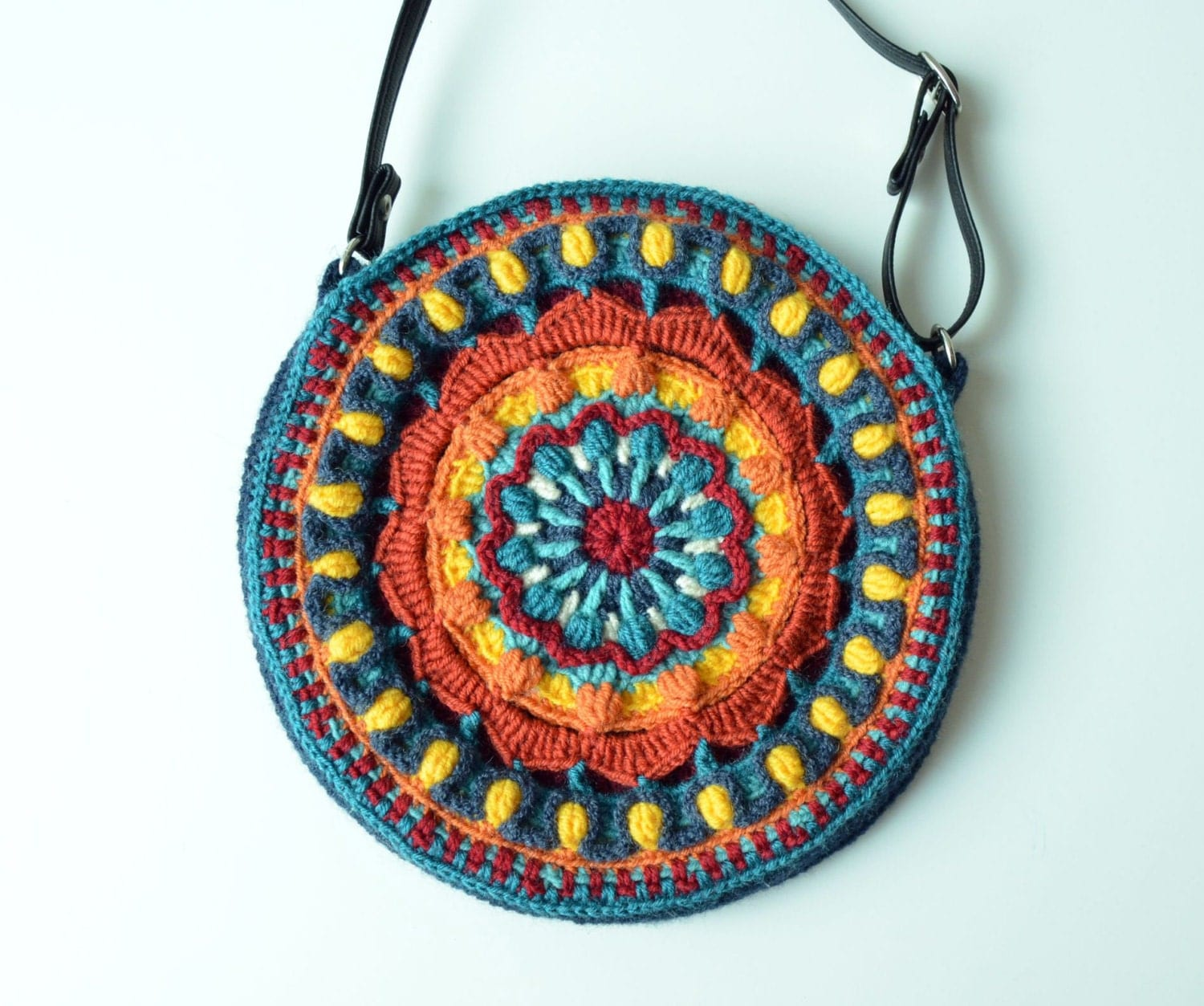Crochet Bag Strap : Crocheted round bag mandala bag with strap by LillaBjornCrochet